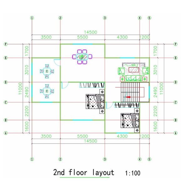2nd floor layout of this two floor prefabricated light steel structure villa