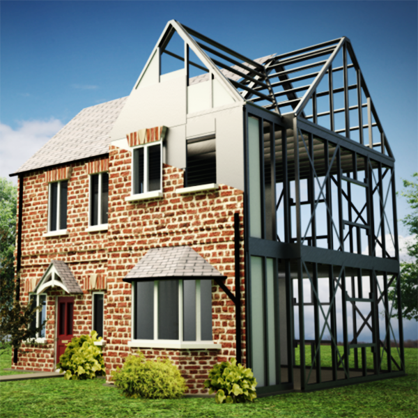 customized galvanized prefabricated light steel frame house renderings