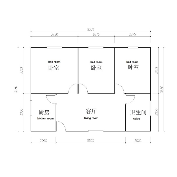 3bedroom 1bathroom manufactured and modular homes floor plan