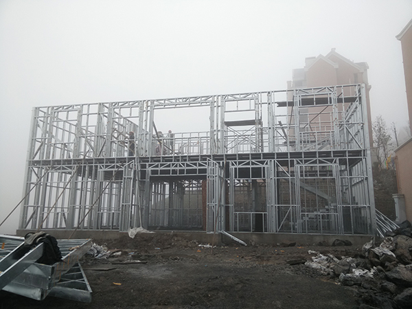 light steel frame of prefabricated villa