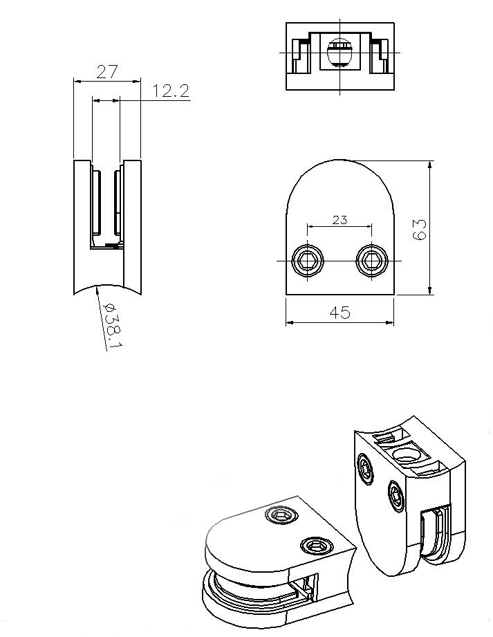 Stainless steel clips to glass clamp