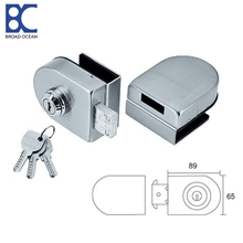 push button glass door lock