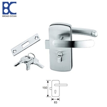 Double-sided frameless sliding glass door lock hardware