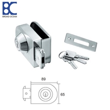 Mirror finish sliding door hook lock glass door lock with keys