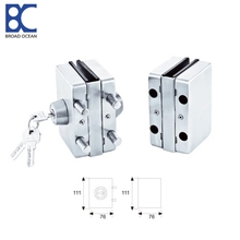 Tempered frameless polished single glass door lock