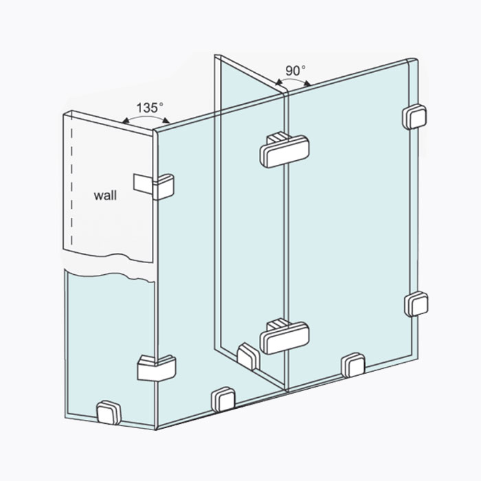 Glass door holder mounting.