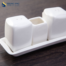 White Porcelain Salt and Pepper Shaker Toothpick Holder Sets Ceramic Toothpick Bottle