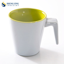 Unique Cups Handle Ceramic 260ml Plain White Coffee Mugs for Printing