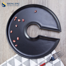 Wholesale Stoneware Dishes Black Circle Shape Decorating Food Plates