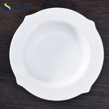 Resturance Round Dinner Plate Customized White Hotel Deep Dish For Soup
