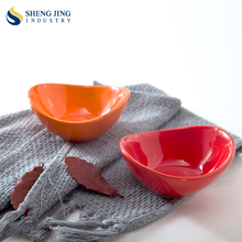 80ml Ceramic Orange Korean Dishes 4 Inch Red Color Sauce Bowl