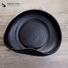 Korean Black Stoneware Plate Dishes Fancy Japanese Stone Bowl