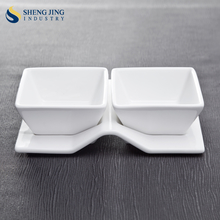 High Quality Porcelain Grid Plate Buffet Serving Dish With 2pcs Sauce Bowl Set