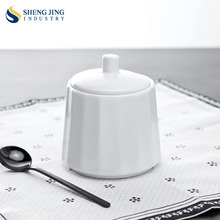 Factory Direct Simple Design White Ceramic Round 240ml Sugar Pot
