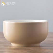 Colored Glaze Ceramic Japanese Style Bowl with Light Brown Color