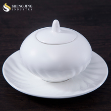 Chaozhou Factory Fine Porcelain White Sugar Pot with Lid