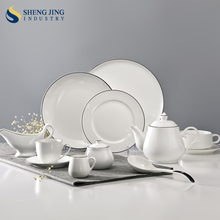Chaozhou Ceramic Factory Elegance Fine Porcelain Black Rim Dinner Set