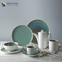 Hotel Supply Chinese Serving Plate Teal Dish Set