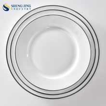 White Porcelain Dinner Set 8 9 10 inch White Plates With Black Rim
