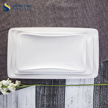 Fashion Design Earthware Rectangle Custom Plain White Plate For Dinnerware