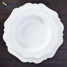 Flower Shape Ceramic Dinner Plates Deep Round Plate For Wedding/ Party/ Theme Restaurant