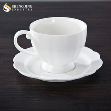 Porcelain Flower Shape White Porcelain Teaware 190ml Arabic Tea Cup Set