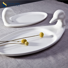 Goose Dishes White Ceramic Duck Shaped Plate