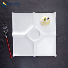 Supply Porcelain Dinnerware 10 12 Inch Square Divided White Plates