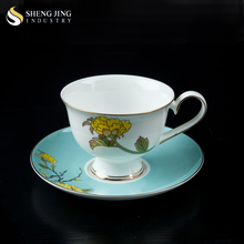 Bone China Dinnerware Nobel Style Ceramic Decal Printer Cups and Saucer