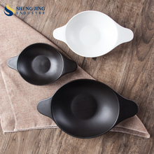 Guangzhou Tableware Set Porcelain Double-Handle Beveled Bowl