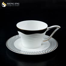 High Quality Bone China Tea Mug Gold and Black Decal Cup Set