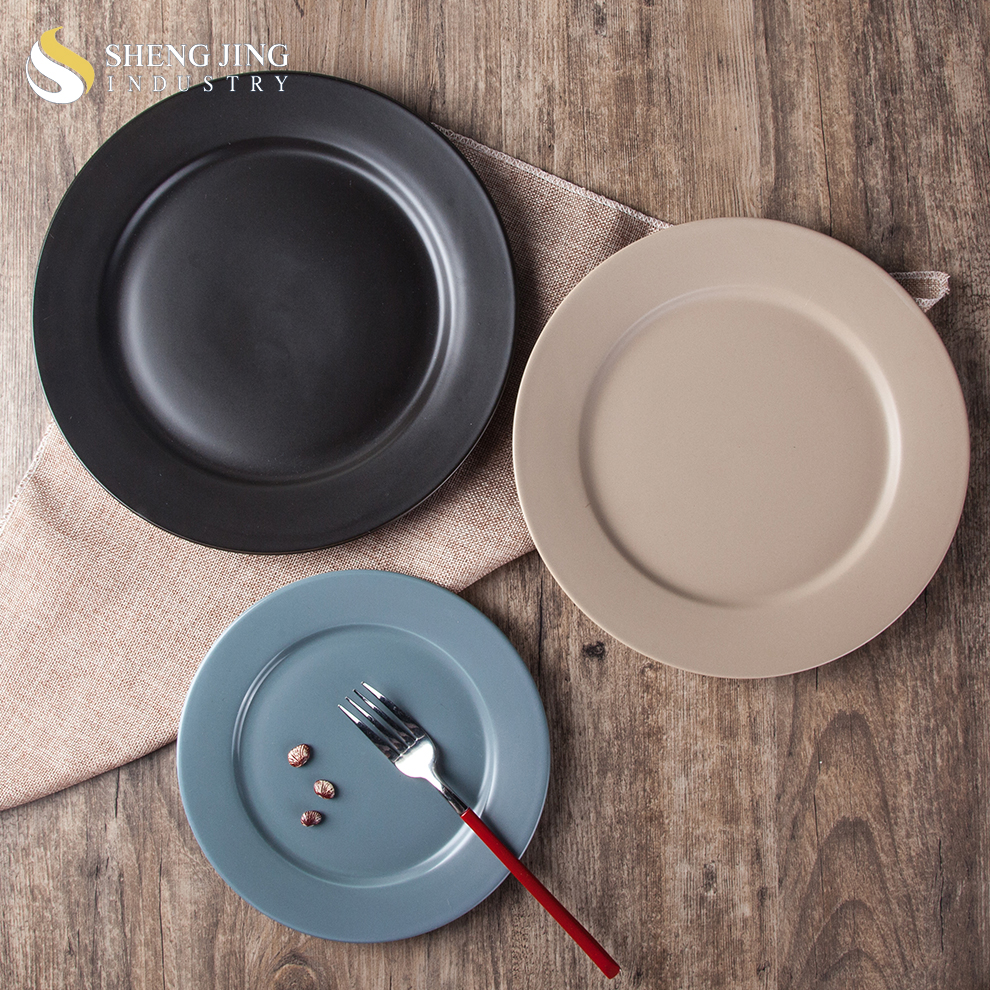 Matt Black Dinnerware Set Ceramic Colored Circle Flat Platter