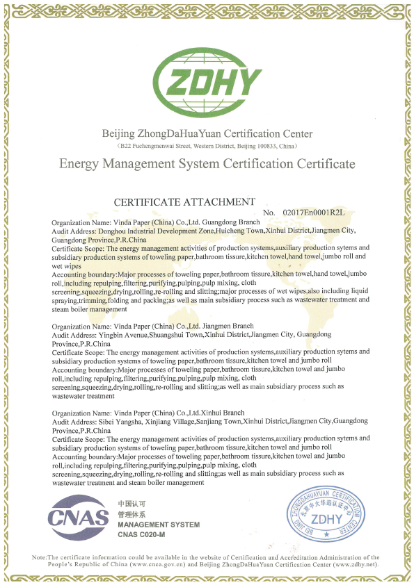 Energy Management System Certification Certificate