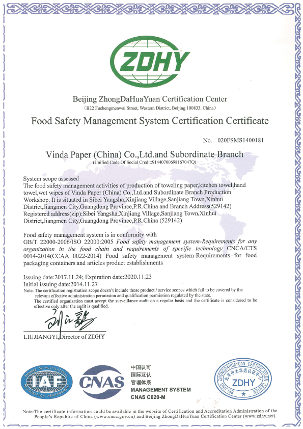 Food Safety Management System Certification Certificate