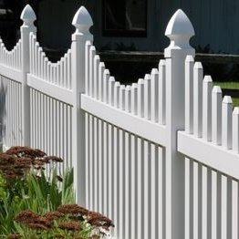 white vinyl picket fence/more durable than wood