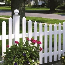 high quality white picket vinyl fence/more durable than wood fence