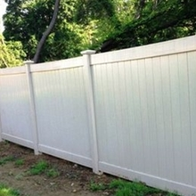 White plastic vinyl fence panels