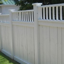 White color Vinyl Privacy Fence with Picket top