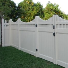 White Picket Top Vinyl Privacy PVC Fence for Yard