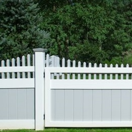 Images for grey panel and white post fence/what colors can supply/is vinyl fencing color fading?