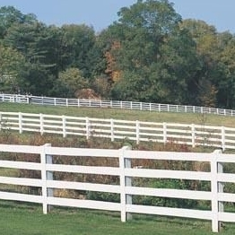 vinyl horse fencing of 4 rail /It's a safe fence for animals and people.