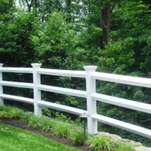 white 4 rail vinyl horse fencing/it's a  reasonable price.