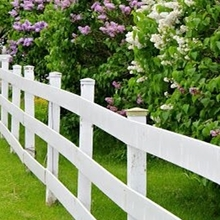 Three line PVC farm rail fence