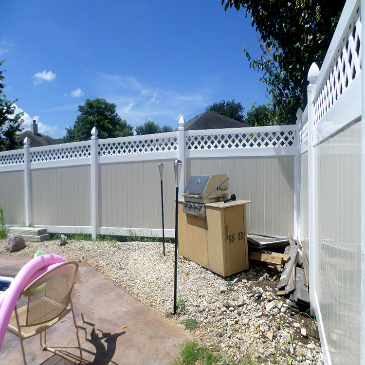 pvc vinyl privacy fence with lattice