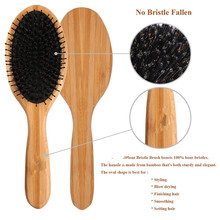 Bamboo Paddle Hair Brush Set with Boar Bristle for Women