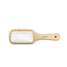 Detangler Metal Copper Bristles Pin Wood Handle Hair Brush with Cushion