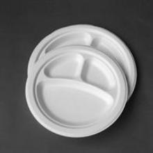 3-compartment earth-friendly paper bagasse round bio disposable plates