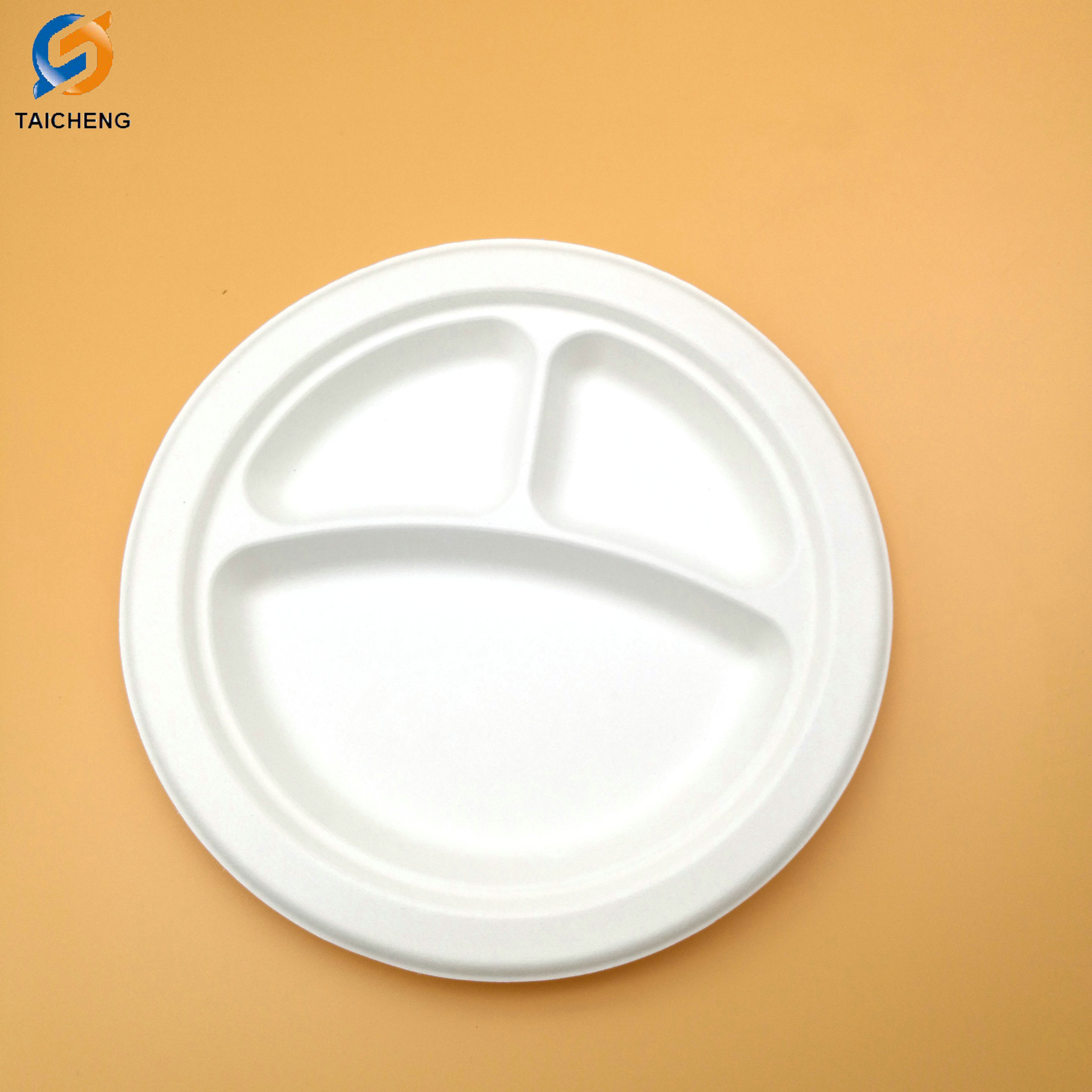 3-compartment earth-friendly paper bagasse round biodegradable disposable plates  sc 1 st  disposable paper cup & 3-compartment earth-friendly paper bagasse round biodegradable ...