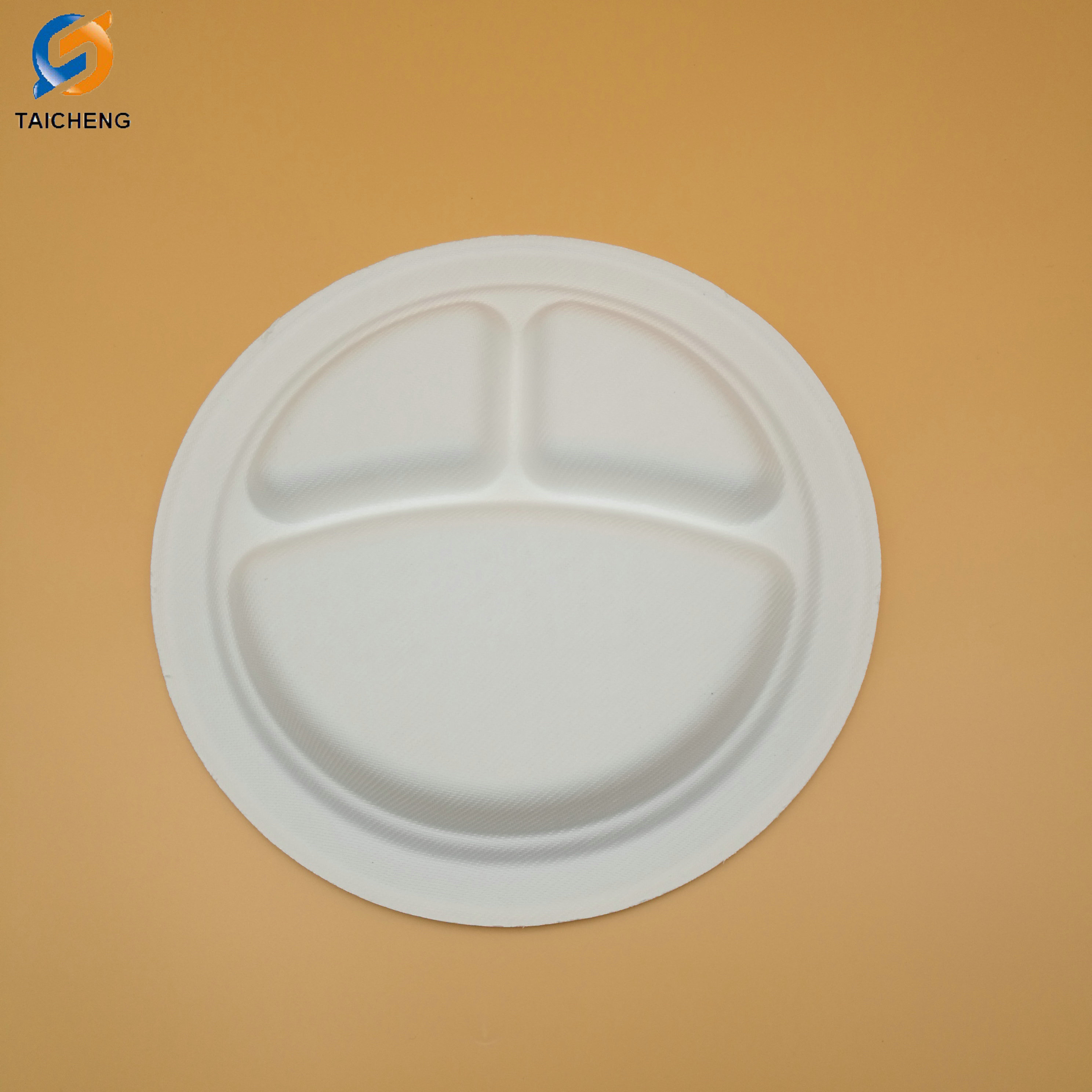 3-compartment earth-friendly paper bagasse round biodegradable disposable platesbiodegradable platesugarcane plate-bio-tableware.com & 3-compartment earth-friendly paper bagasse round biodegradable ...