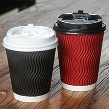 Disposable Insulated Corrugated Ripple Wall Hot Coffee Paper Cup with Cappuccino Lids